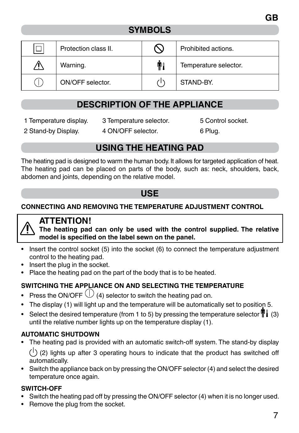 Gb 7 symbols, Description of the appliance, Using the heating pad ...