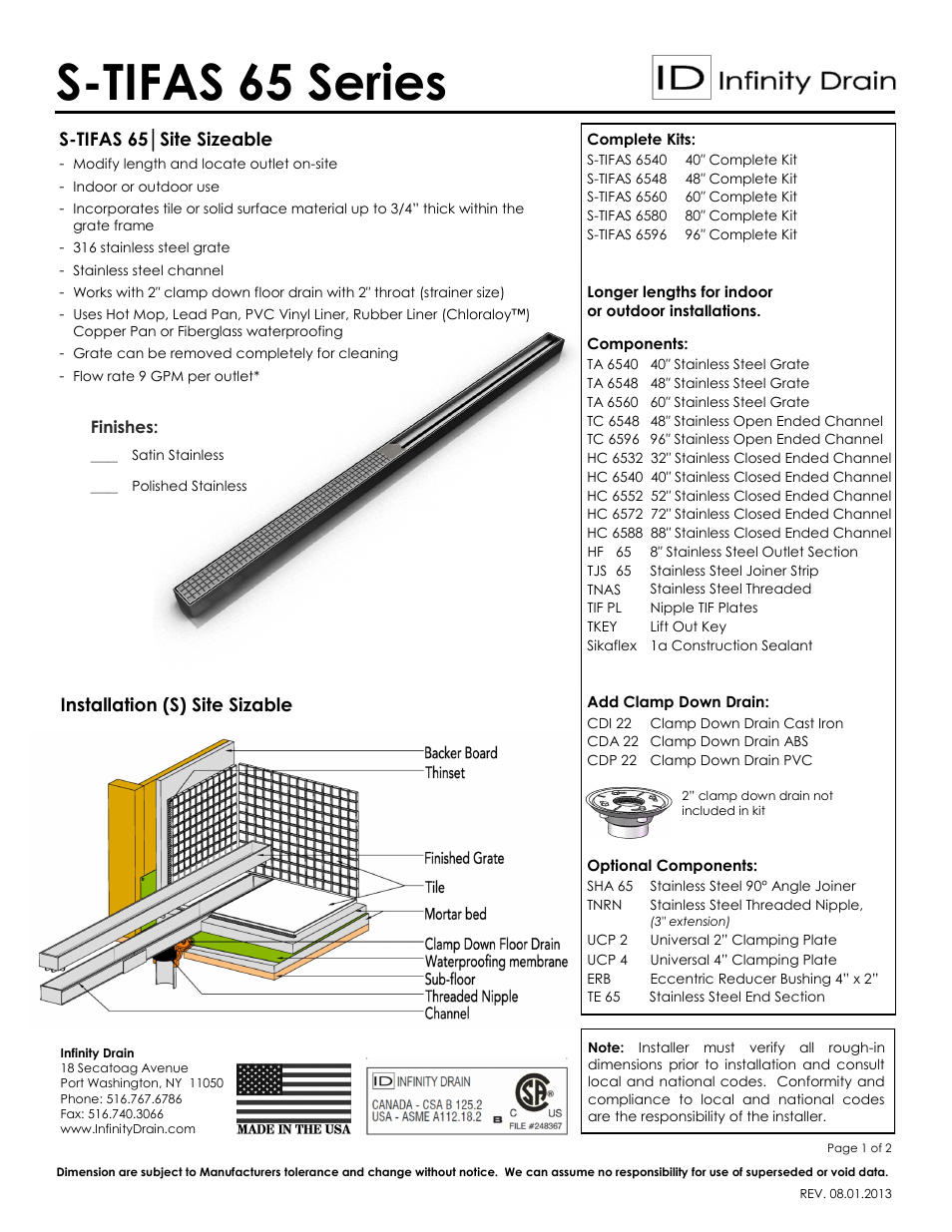 Infinity Drain S TIFAS 6548 Series Submittal Sheet User Manual