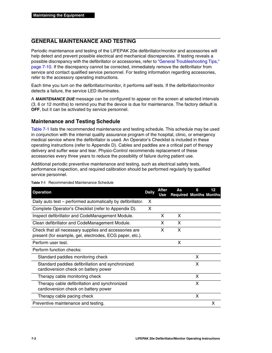 General maintenance and testing, Maintenance and testing schedule, General  maintenance and testing -2 | Physio-Control LIFEPAK 20e User Manual | Page  124 / ...