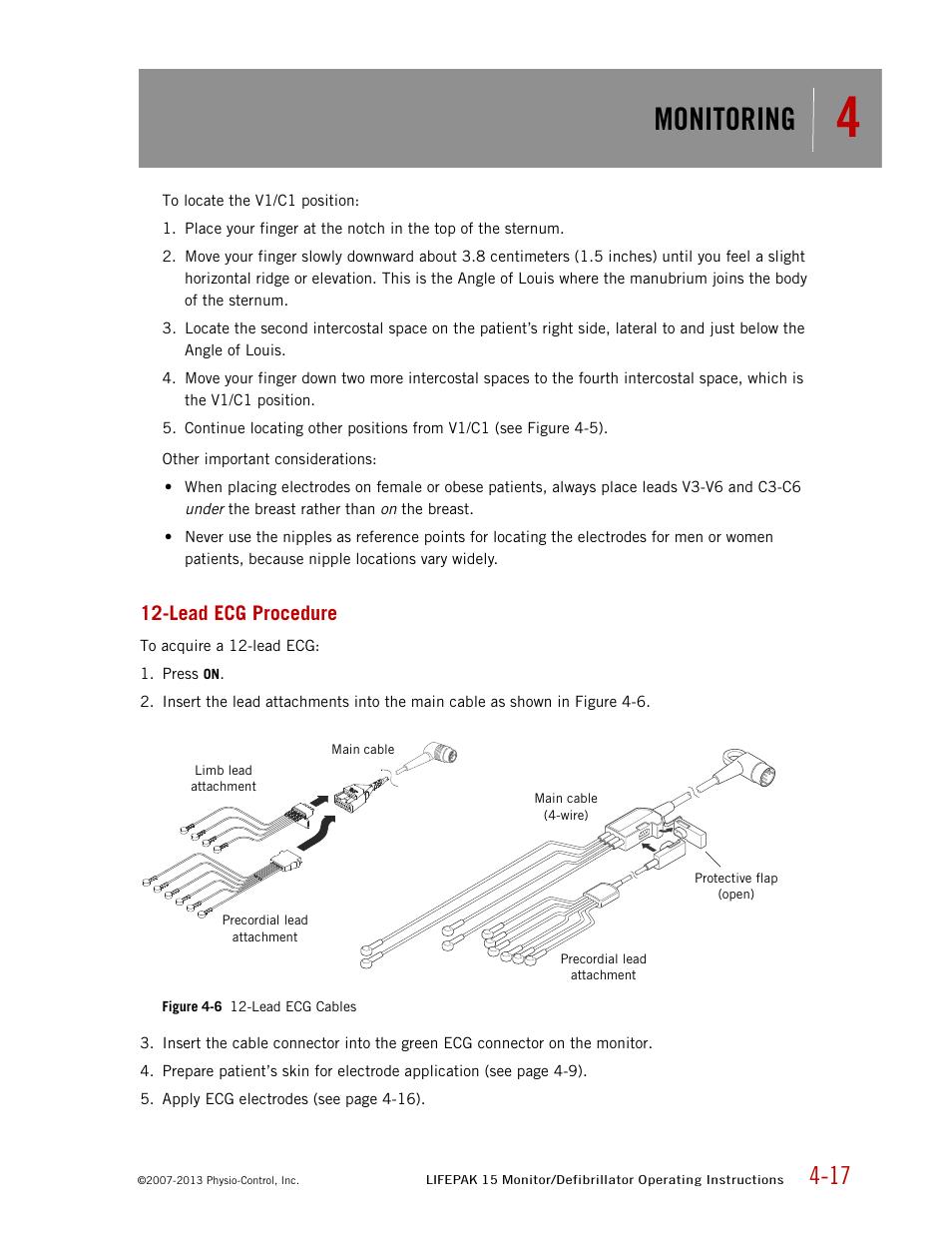 Lead ecg procedure, Monitoring | Physio-Control LIFEPAK 15 User Manual |  Page 61