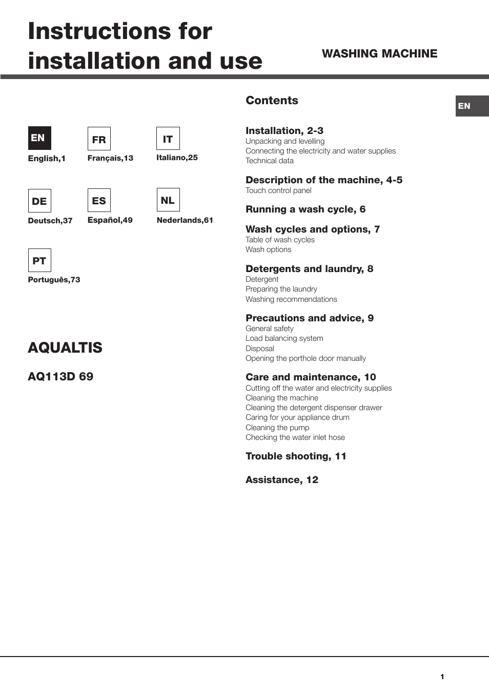 Hotpoint ariston aq113d 69 user manual 84 pages fandeluxe Choice Image