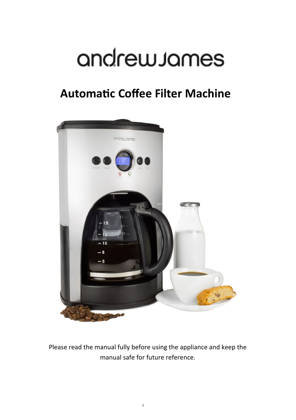 Andrew James Aj000002 1100w Automatic Filter Coffee Machine