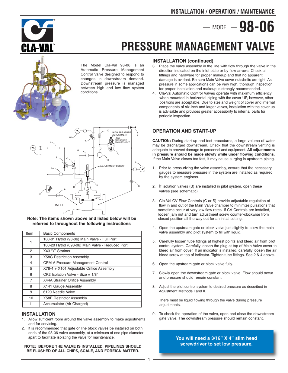 Cla Val 98 06 698 Quick Manual User 4 Pages Air Flow Control Valve Schematic