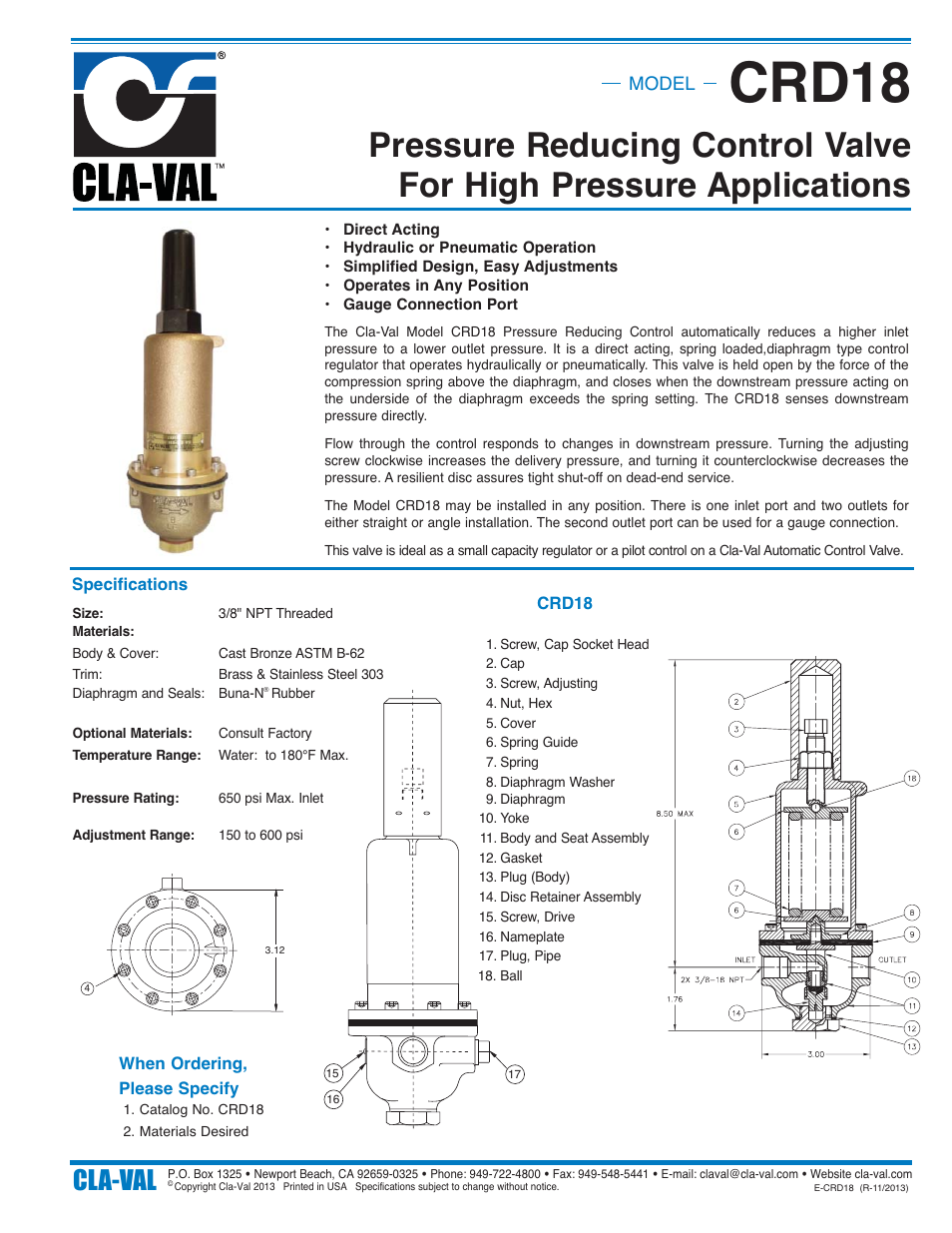 Cla-Val CRD18 User Manual | 1 page