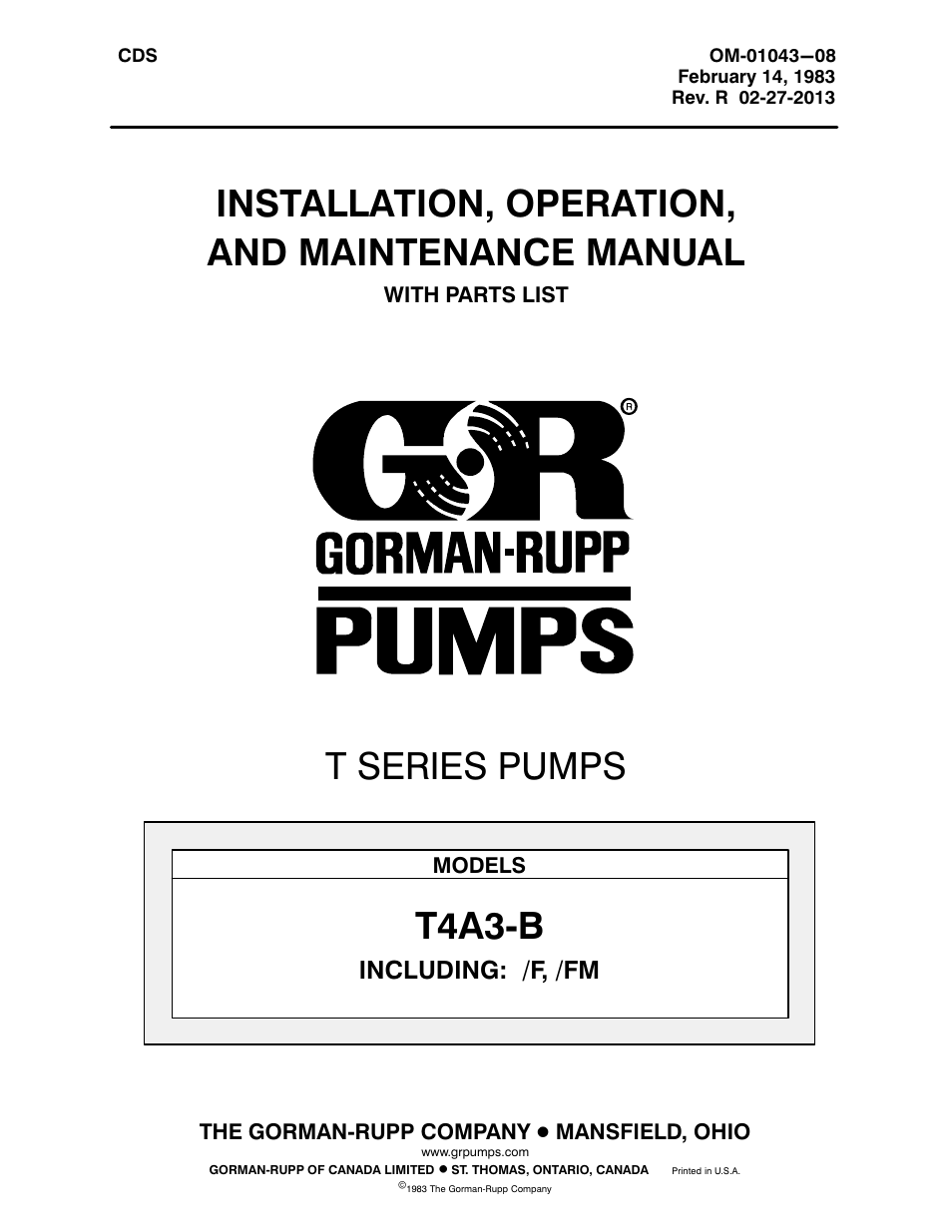 gorman rupp pumps t4a3 b f fm user manual 39 pages rh manualsdir com gorman rupp parts manual gorman rupp parts manual