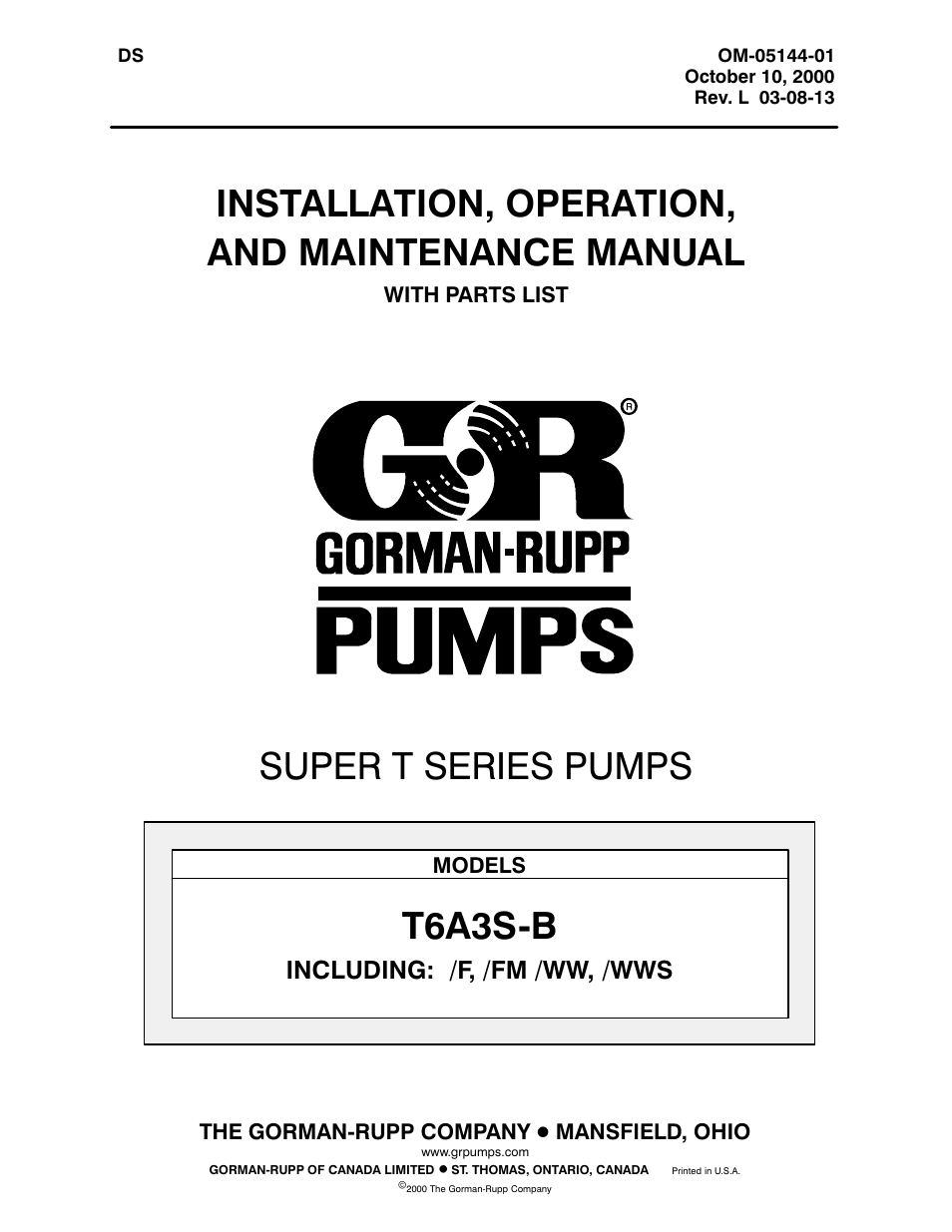 gorman rupp pumps t6a3s b f fm ww wws user manual 39 pages rh manualsdir com Gorman-Rupp T- Series Installation Gorman-Rupp Service Manual