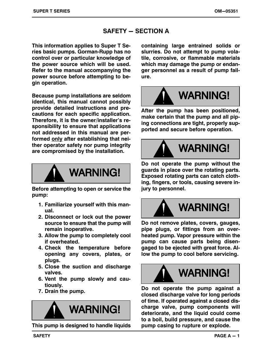 safety section a gorman rupp pumps t6a71s b f fm user manual rh manualsdir com Gorman-Rupp Manual GHS Series Gorman-Rupp T- Series Installation