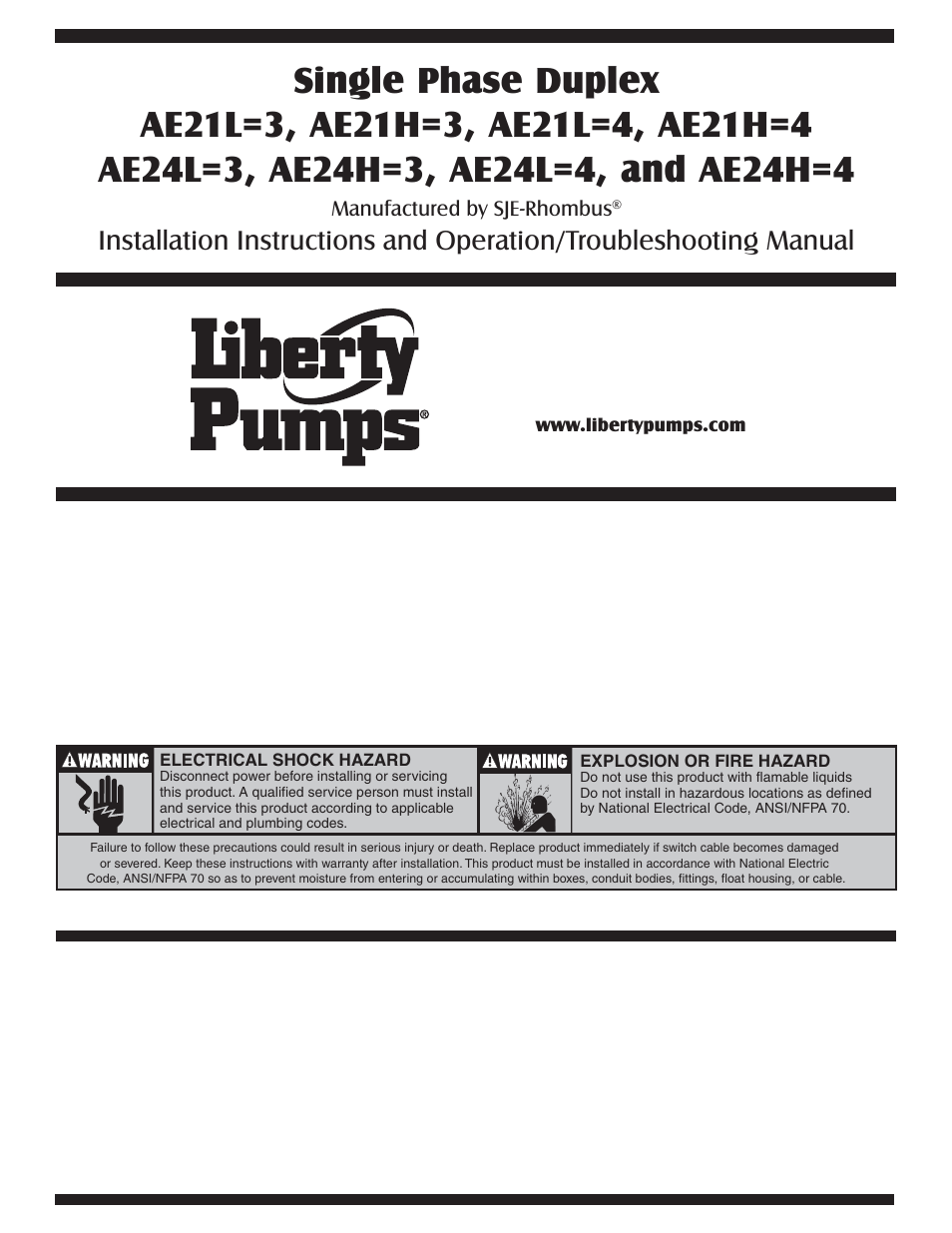 Liberty Pumps AESeries User Manual 12 pages