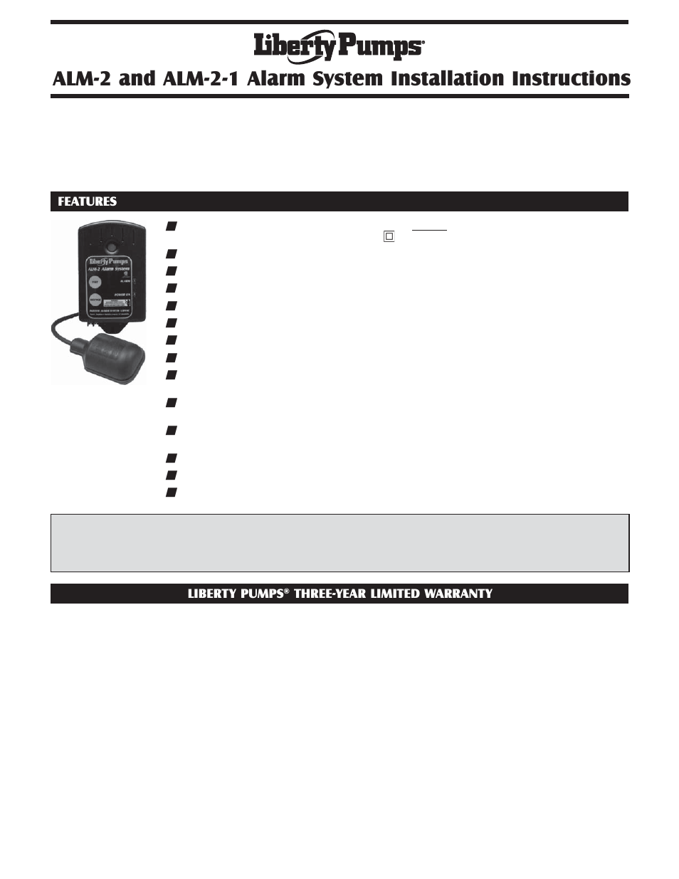 Liberty Pumps ALM21 User Manual 2 pages Also for ALM2