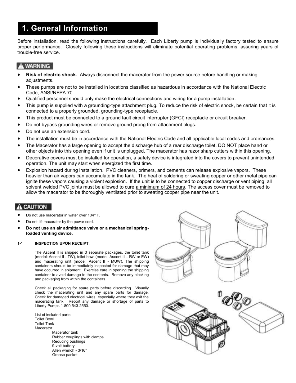General information Liberty Pumps Ascent II User Manual Page 2 55