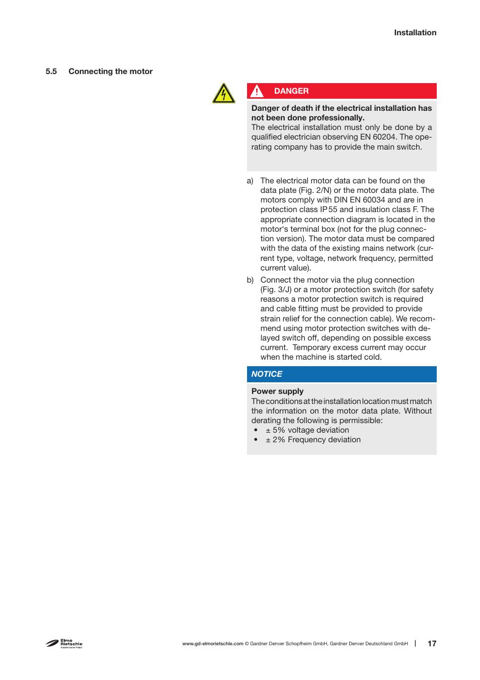 Elmo Rietschle V Vtn 16 26 41 User Manual Page 17 30 Gardner Denver Motor Wiring Diagram