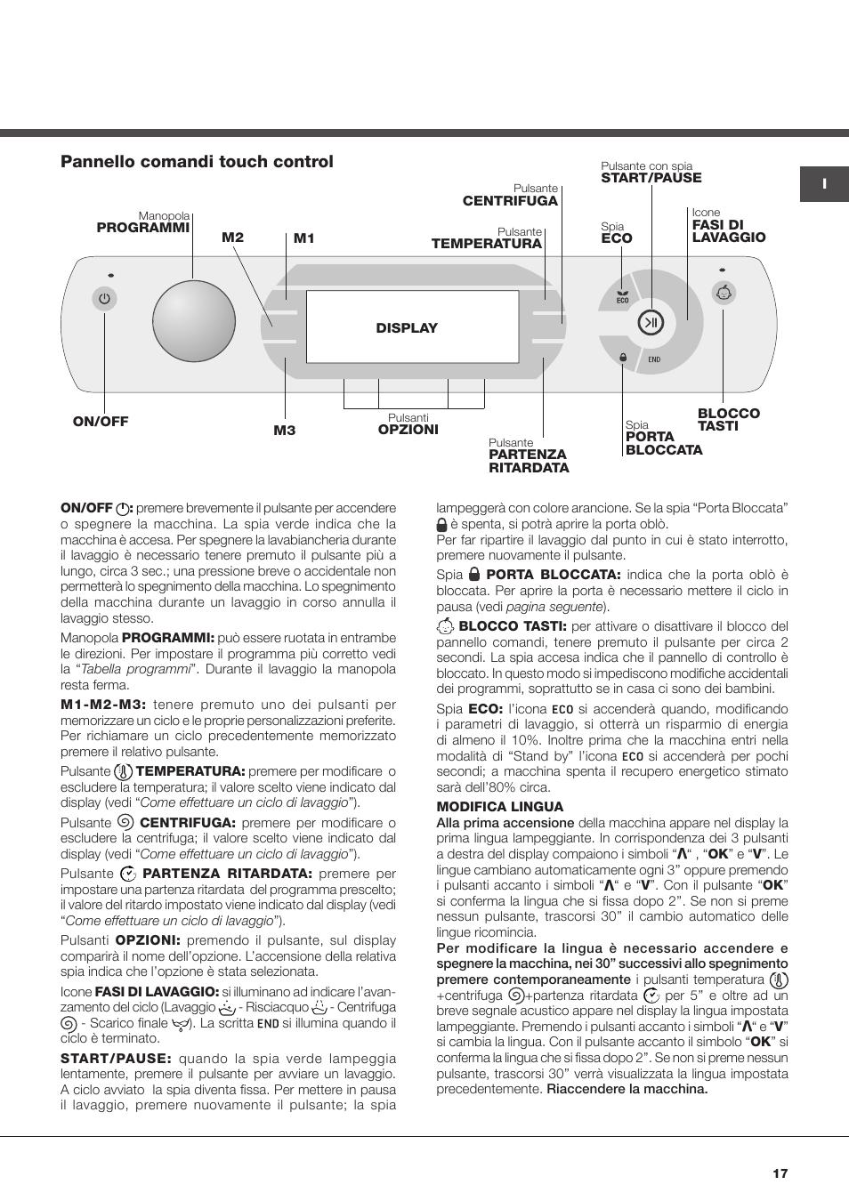 Pannello comandi touch control hotpoint ariston aqualtis for Manuale ariston