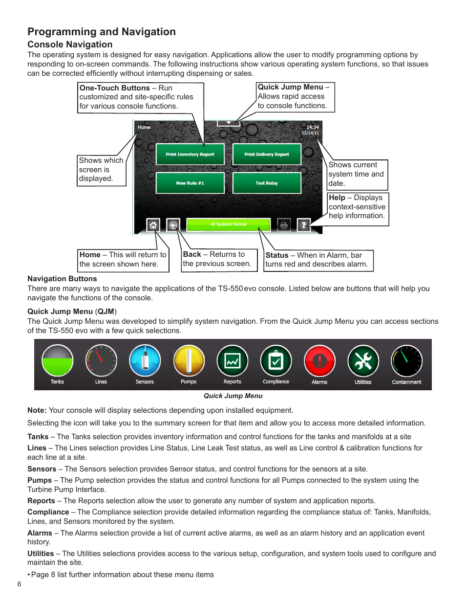 Programming and navigation | Franklin Fueling Systems TS 550