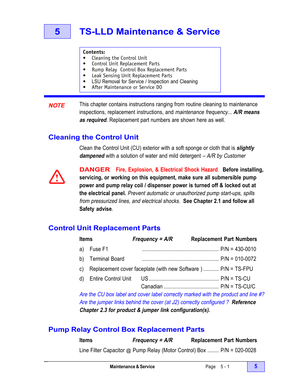 5 Ts Lld Maintenance Service 1 Note Cleaning The Control Electrical Relay Unit Franklin Fueling Systems Installation Manual User Page 67 86