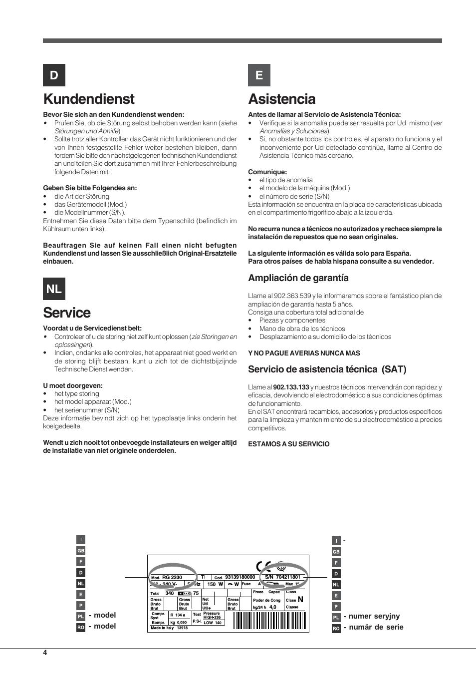 Kundendienst, Service, Asistencia | Ampliación de garantía, Servicio de  asistencia técnica (sat