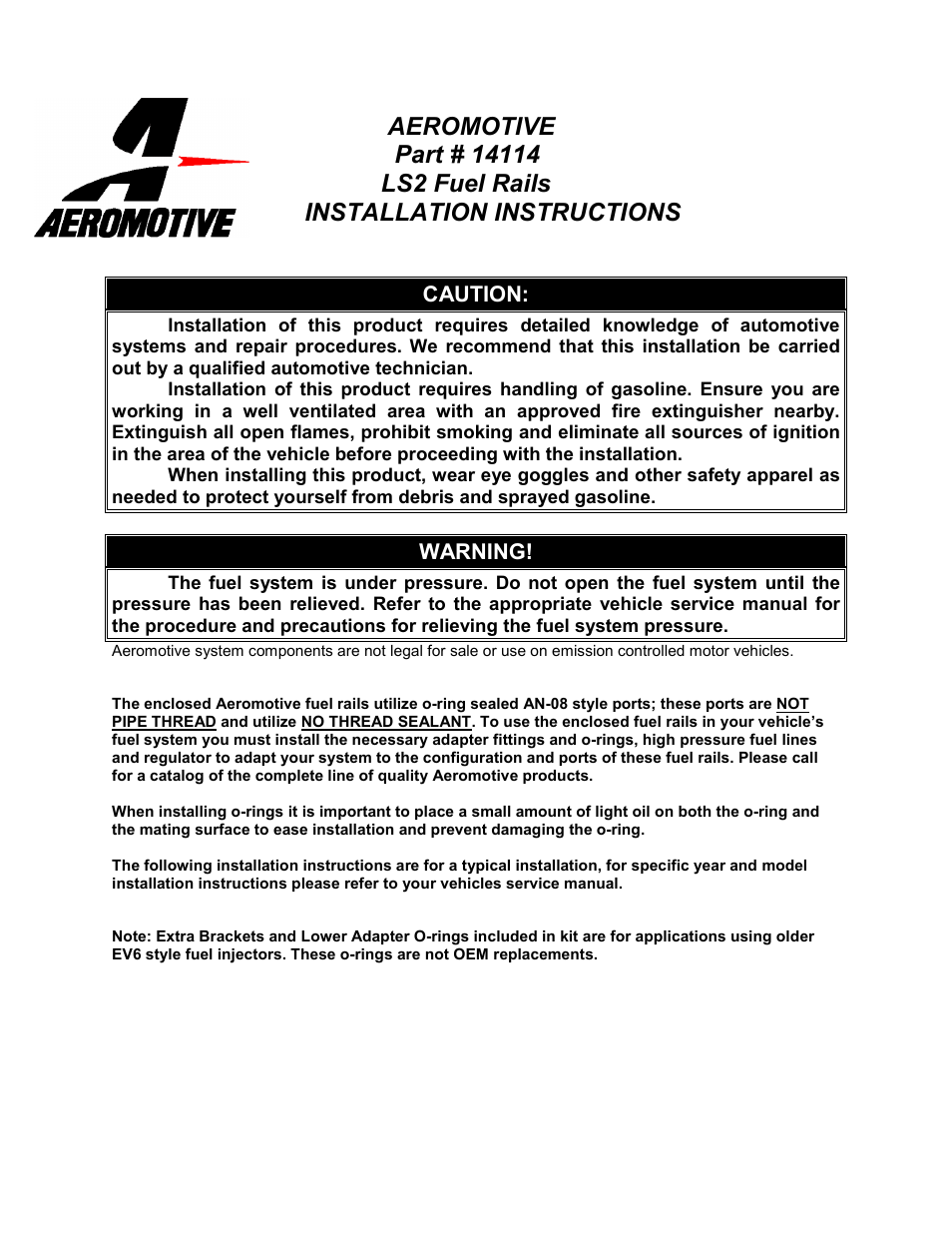 aeromotive 14114 05 06 gm ls2 fuel rail kit user manual 4 pages rh manualsdir com GM LS Engine in Chevy Colorado GM LT1 Engine