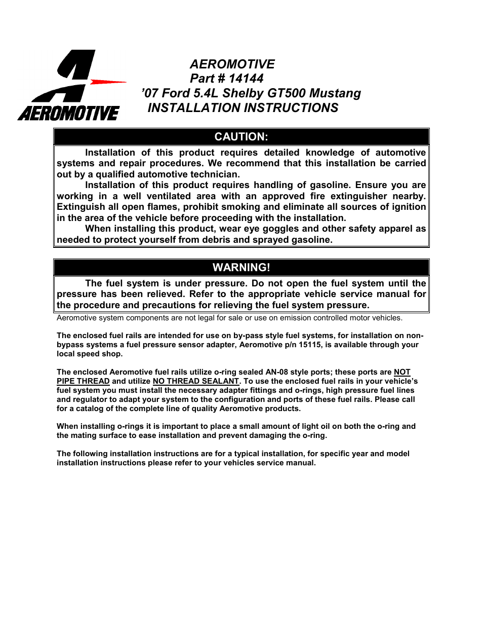 Aeromotive 14144 - 07-09 5 4L GT500 FUEL RAIL KIT User Manual | 4 pages