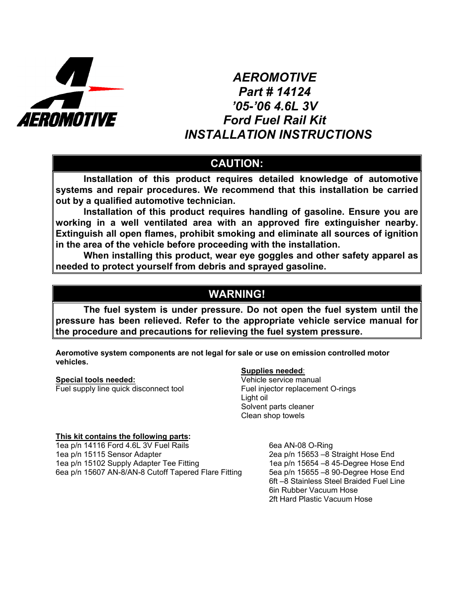 Aeromotive 14124 - 05-09 4.6L 3-VALVE GT FUEL RAIL SYSTEM User Manual | 8  pages