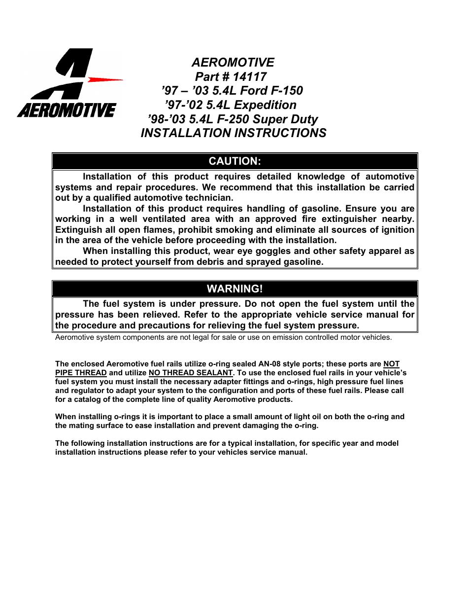 Aeromotive 14117 - 97-05 5.4L 2-VALVE TRUCK & SUV FUEL RAIL KIT User Manual  | 4 pages