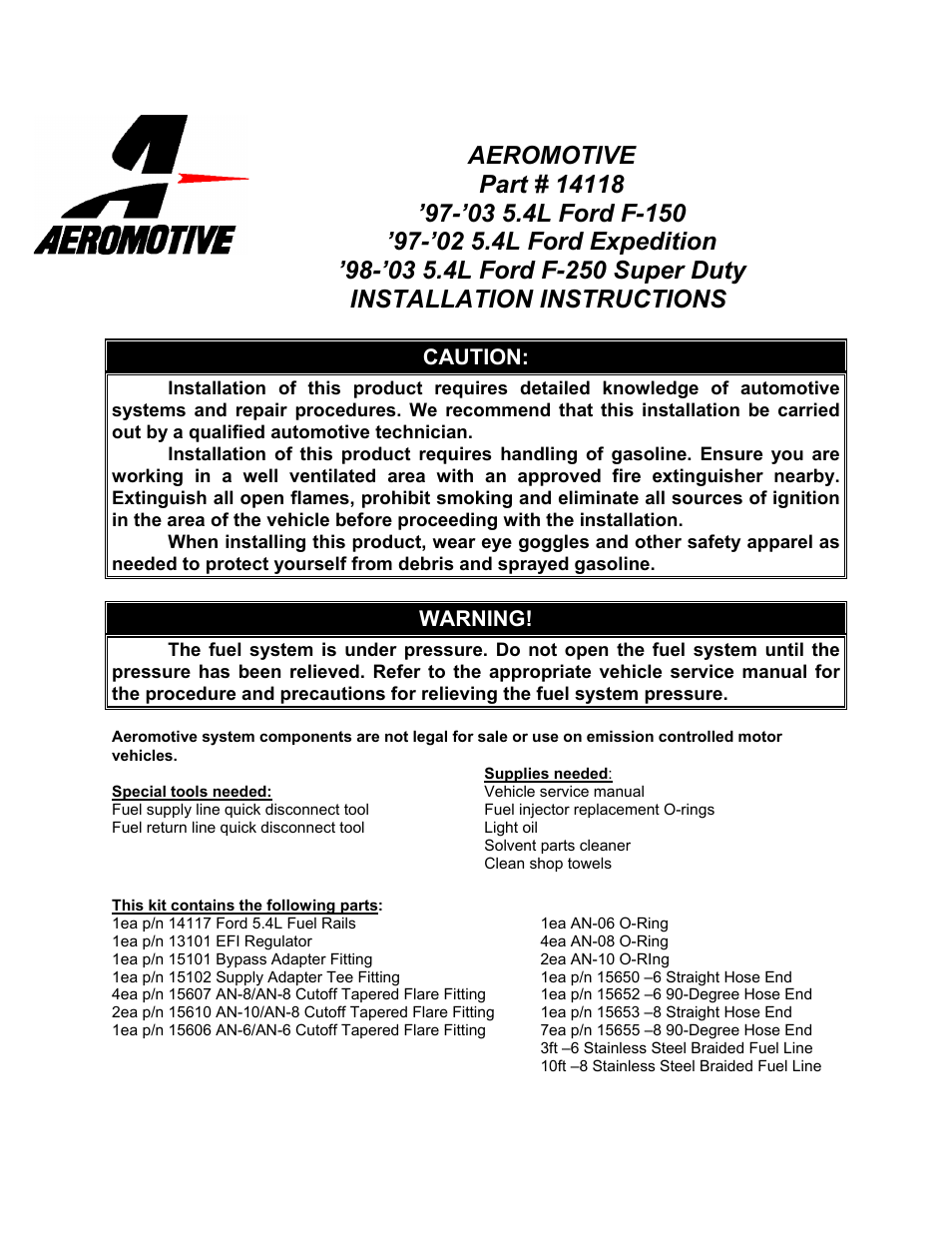 Aeromotive 14118 - 97-05 5.4L 2-VALVE TRUCK & SUV FUEL RAIL SYSTEM User  Manual | 8 pages