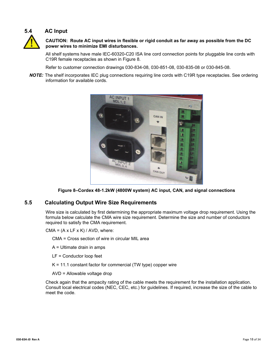 4 ac input, 5 calculating output wire size requirements, Ac input ...