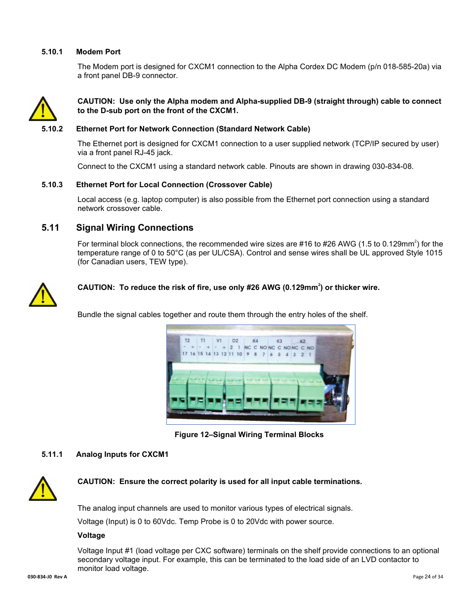 1 Modem Port 11 Signal Wiring Connections Analog Inputs For Straight Through Cable Scheme Cxcm1 Alpha Technologies Cordex 48 12kw User Manual Page 30 68