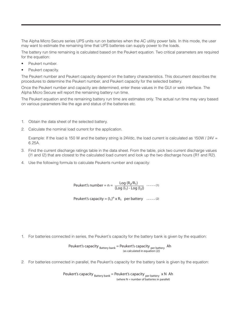 Peukert Number And Battery Capacity 1 Introduction Alpha Utilize Following Formulae To Calculate The Power Consumption Of Technologies Micro Secure Ups User Manual Page 73 80