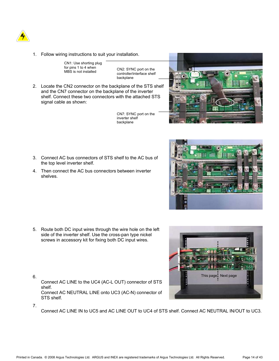 Sts Controller Shelf 6 Alpha Technologies Wiring Neutral Bus Bar Inex Inverter System User Manual Page 24 54