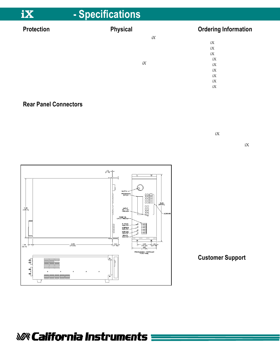 Protection, Rear panel connectors, Physical | Atec California-Instruments-15001iX  User Manual | Page 7 / 7