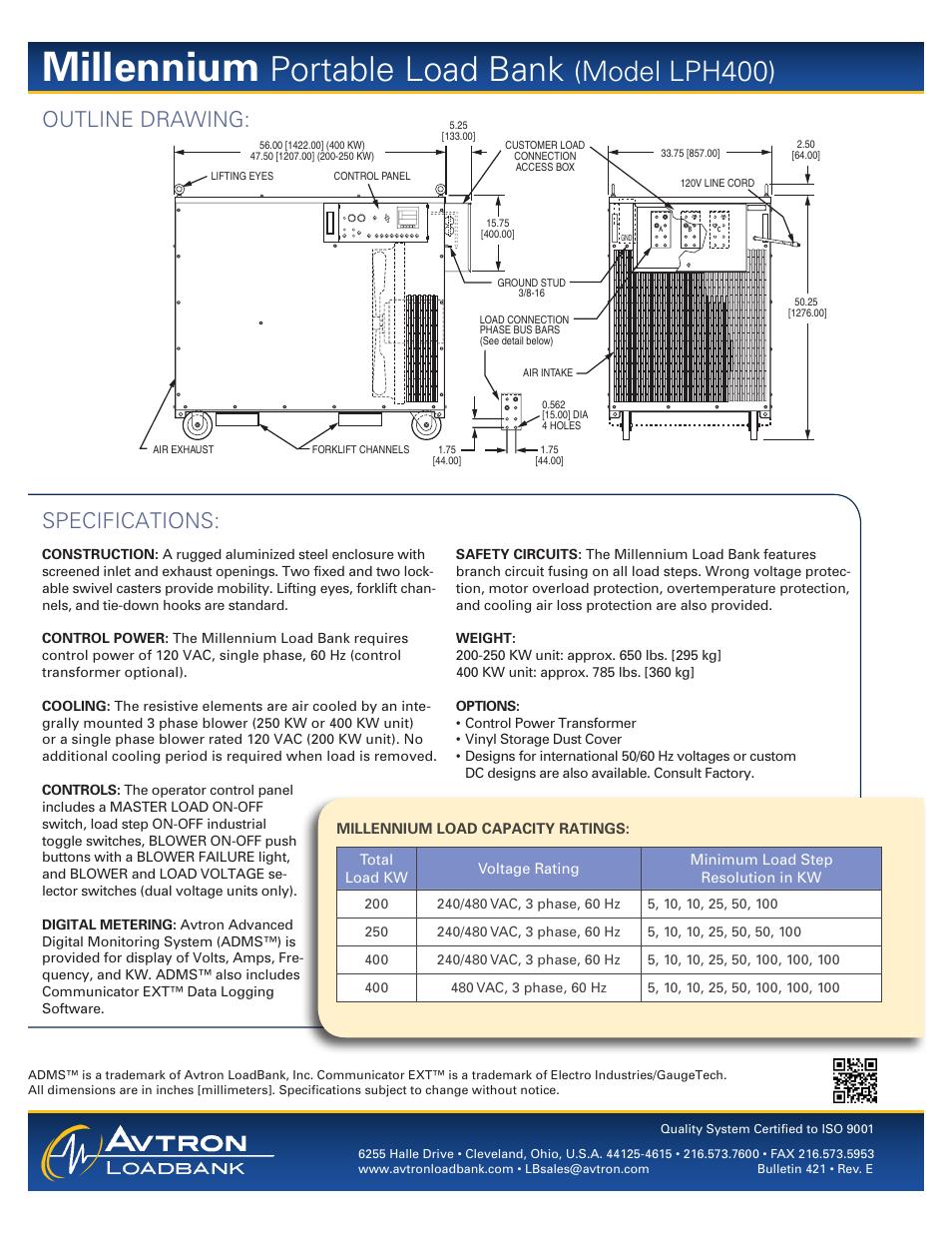 Millennium  Portable load bank  Model lph400    Atec