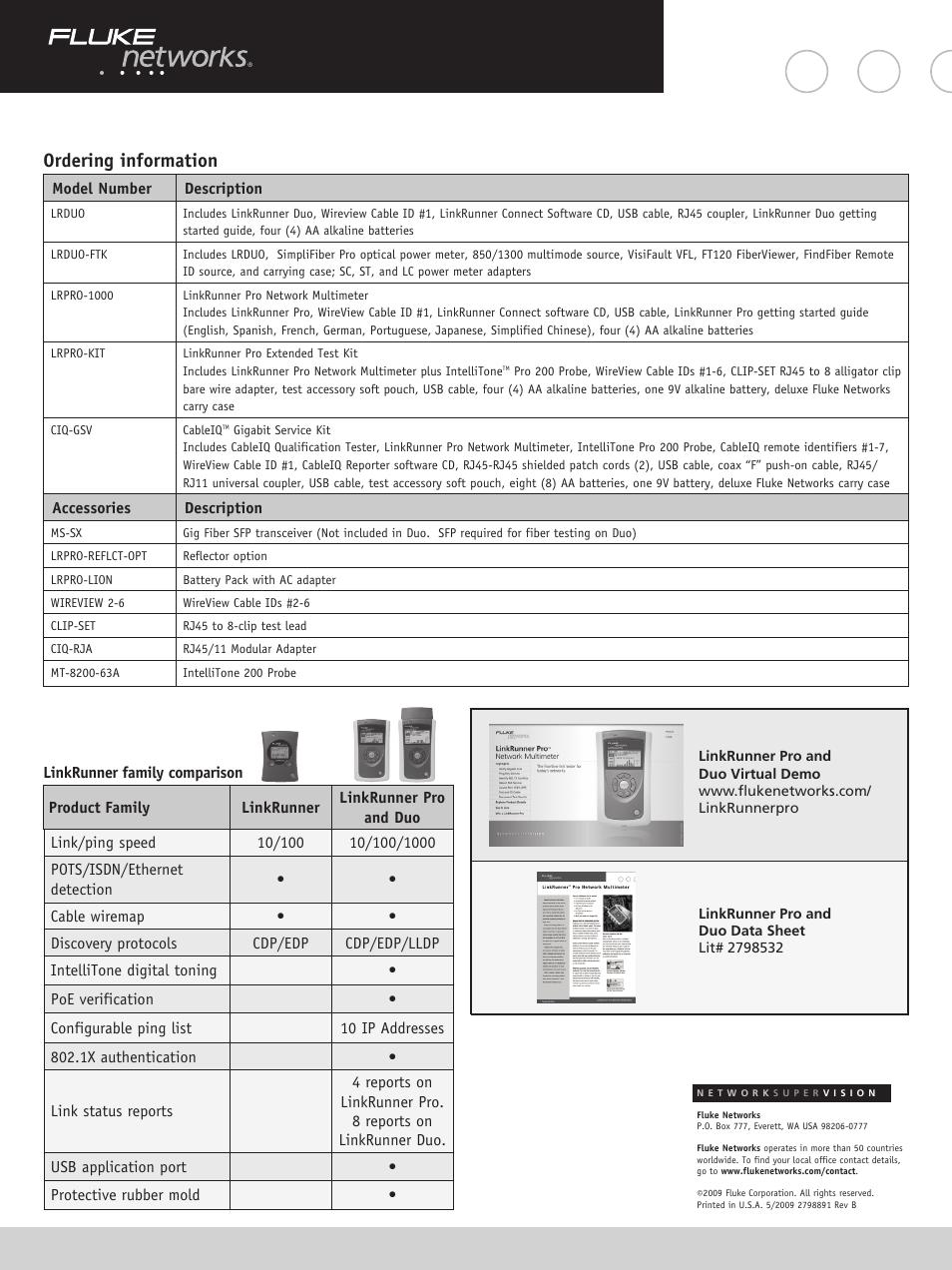 Ordering information   Atec Fluke-Linkrunner-Pro-Duo User Manual