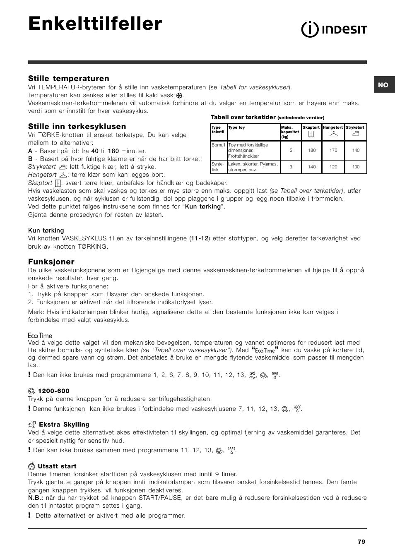 2b29ab4d Enkelttilfeller, Stille temperaturen, Stille inn tørkesyklusen   Funksjoner    Indesit IWDC 6125 User Manual