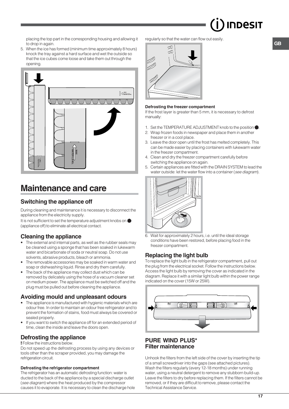 Maintenance and care, Switching the appliance off, Cleaning the appliance |  Indesit BAAN 13 X User Manual | Page 17 / 44