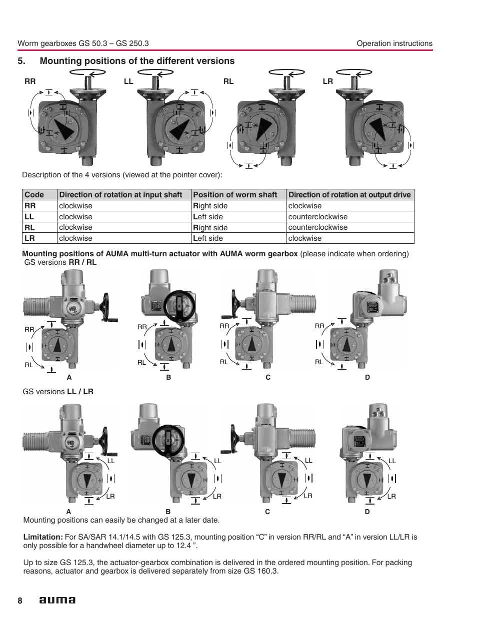 mounting of the different versions mounting 8 auma part turn gearboxes gs
