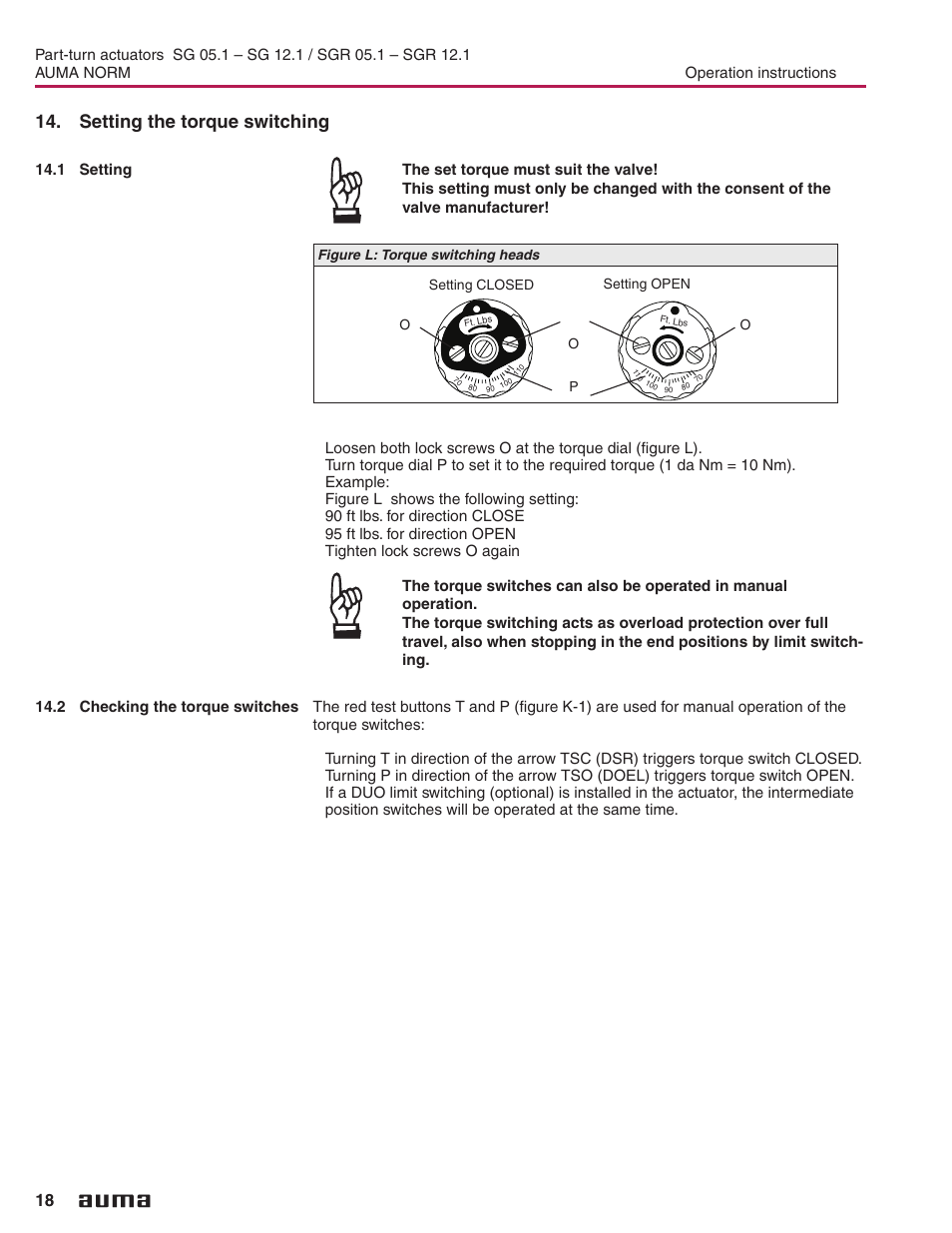 Torque Switch Auma Sa071 Wiring Diagram Setting The Switching Checking Switches Electric Part Turn Actuators Norm User