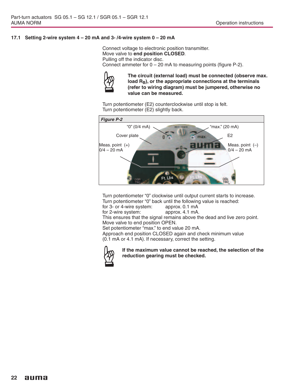 Wire System 22 Auma Electric Part Turn Actuators Sg 051 121 2wire Wiring A Potentiometer Sgr Norm User Manual Page 32
