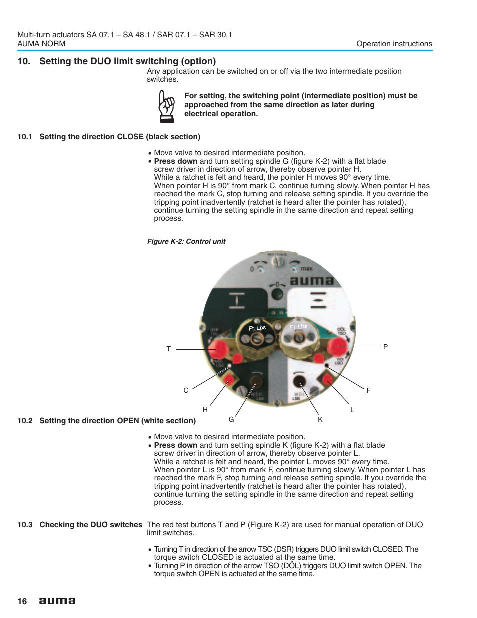 Auma Actuator Sar 10 2 Wiring Diagram Setting The Duo Limit Switching Option
