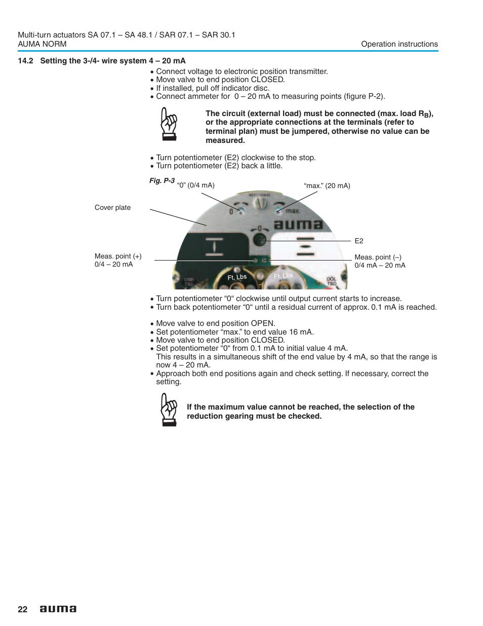 2 Setting The 3 4 Wire System 20 Ma 22 Auma Sa071 Wiring Diagram Electric Multi Turn Actuators Sa 071