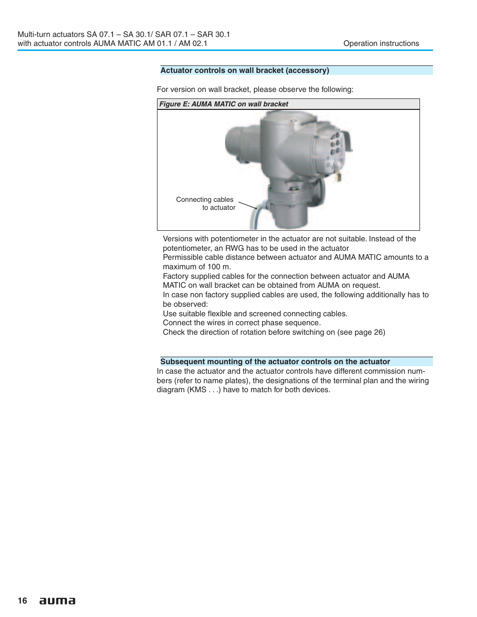 Wall Bracket 16 Auma Electric Multi Turn Actuators Sa 071 161 Actuator Wiring Diagram Sar