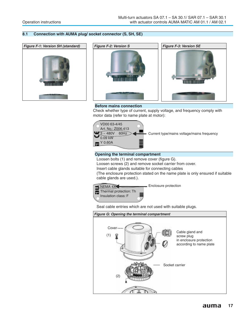 auma electric multi turn actuators sa 07 1 16 1 sar 07 1 16 1 matic am 01 1 02 1 user
