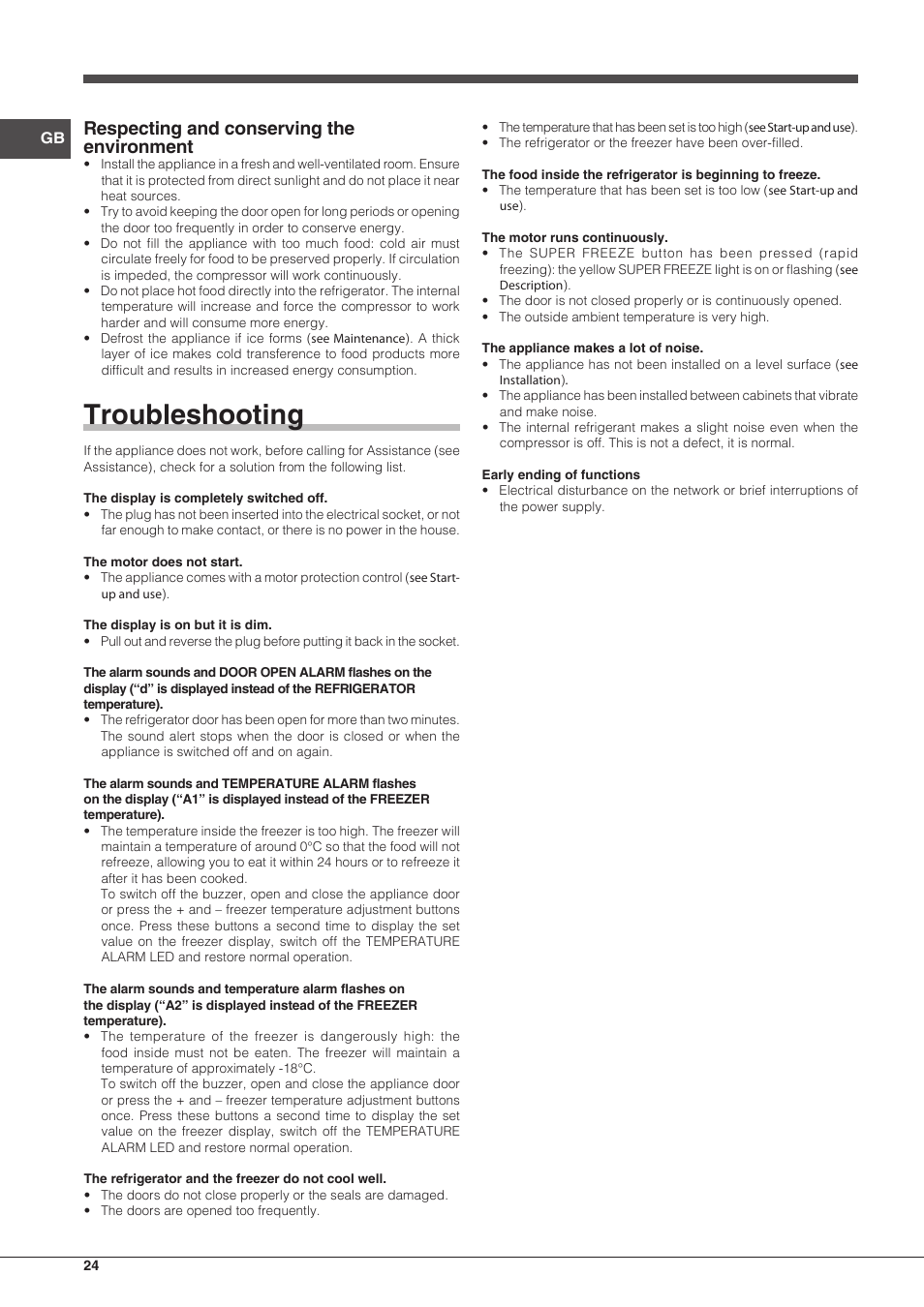 Troubleshooting, Respecting and conserving the environment   Indesit