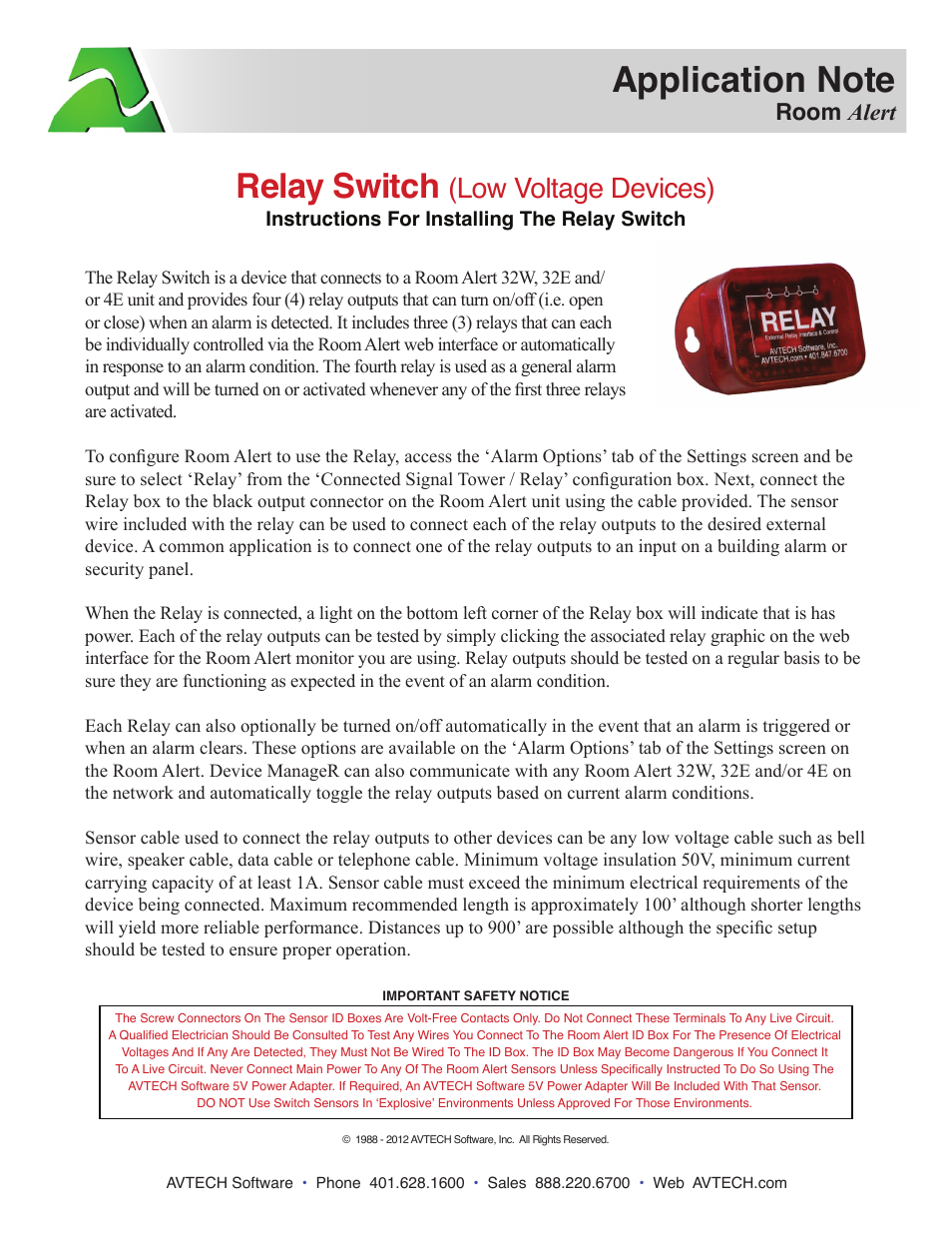 Avtech Relay Switch Sensor Rma Sen User Manual 1 Page Current Based