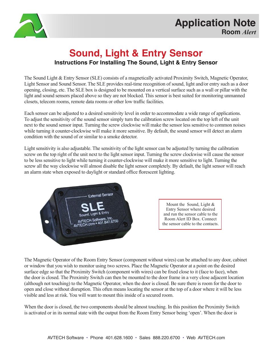 Avtech Sound Light Entry Sensor Rma Sle Sen User Manual 2 Pages