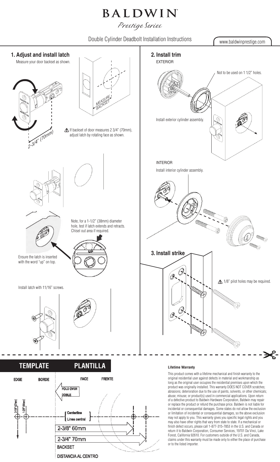 baldwin double cylinder deadbolt user manual 2 pages. Black Bedroom Furniture Sets. Home Design Ideas