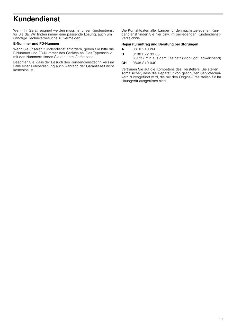 Kundendienst E Nummer Und Fd Nummer Reparaturauftrag Und Beratung