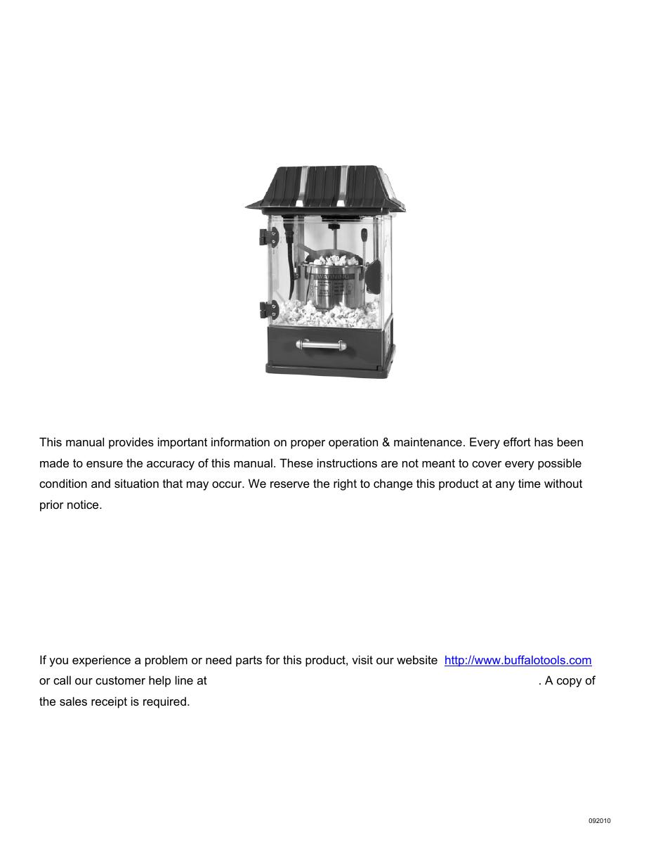 Amerihome Qtpop Table Top Popcorn Maker User Manual 6 Pages