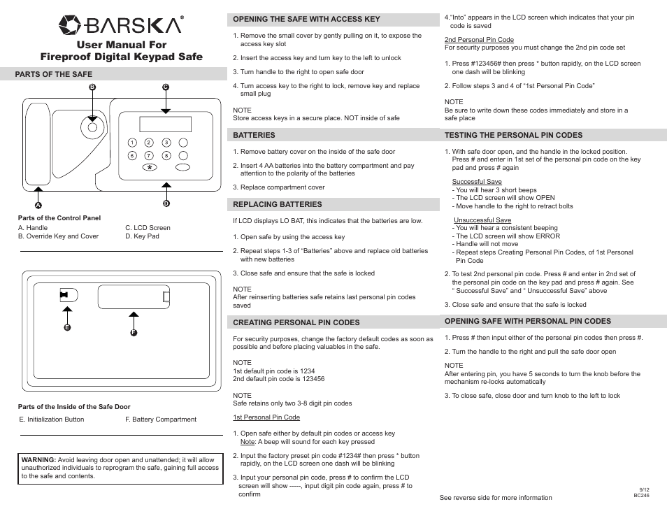 BARSKA AX11902 - Fireproof Digital Keypad Safe User Manual | 2 pages