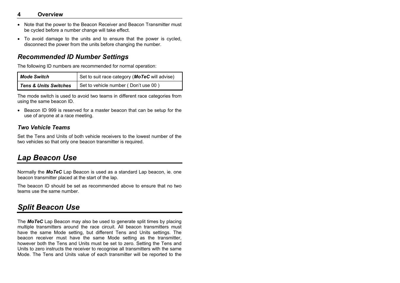 Lap beacon use, Split beacon use | MoTeC BRX User Manual