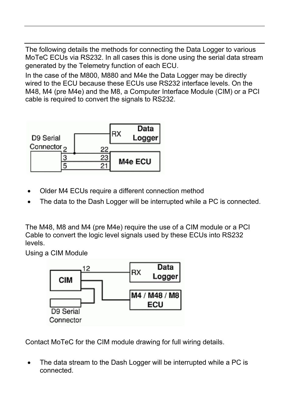 motec cdl3 page68 cdl3 dash logger to ecu wiring (rs232) motec cdl3 user manual motec m4 wiring diagram at mifinder.co