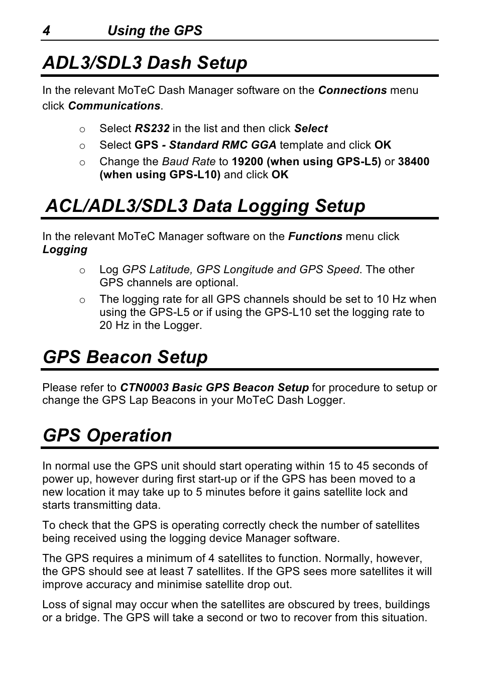 Adl3/sdl3 dash setup, Acl/adl3/sdl3 data logging setup, Gps